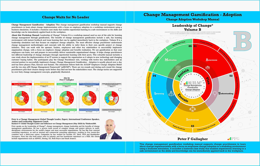 Change Management Gamification Adoption Leadership of Change Volume B ~ Peter F Gallagher Change Management Expert and global thought leader, a2B.consulting, Change Leadership, Peter F Gallagher Change Management Global Thought Leader, Enabling the leadership of change, #LeadershipOfChange, a2BCMF, AUILM, a2B5R,