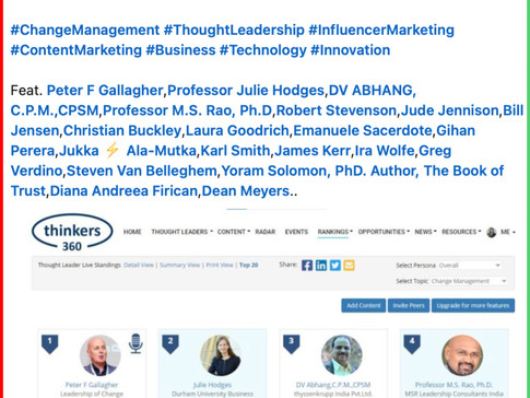 #1 Global Thought Leaders and Influencers on Change Management (1st Apr 2021)