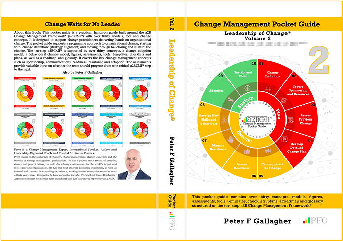 Change Management Pocket Guide, Change Management Book, Change Management Pocket Guide - Leadership of Change® Volume 2, Peter F Gallagher Change Management Expert, This pocket guide contains over thirty concepts, models, figures, assessments, tools, templates, checklists, plans, a roadmap and glossary, structured on the ten-step a2B Change Management Framework®
