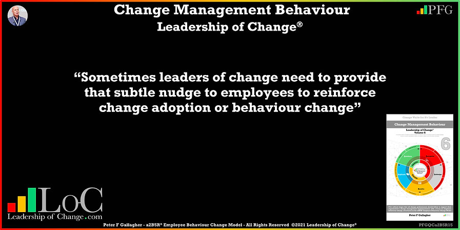 Change Management Behaviour Quotes, Change Management Quotes, Peter F Gallagher, sometimes leaders of change need to provide that subtle nudge to employees to reinforce change, Peter F Gallagher Change Management Global Thought Leaders, change management behaviour book, Leadership of Change, Employee Behaviour Change, Change Management Expert Speaker thought leader,
