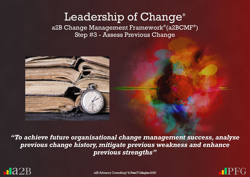 "a2B Change Management Framework® (a2BCMF®) Step #3 - Assess Previous Change ""To achieve future organisational change success, analyse previous change history, mitigate previous weakness and enhance previous strengths"" Peter F Gallagher Change Management Expert"