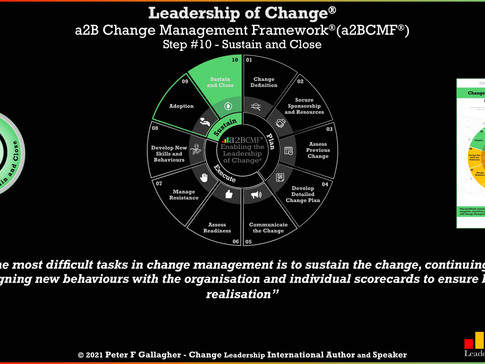 a2B Change Management Framework® (a2BCMF®) - Step #10: Sustain and Close