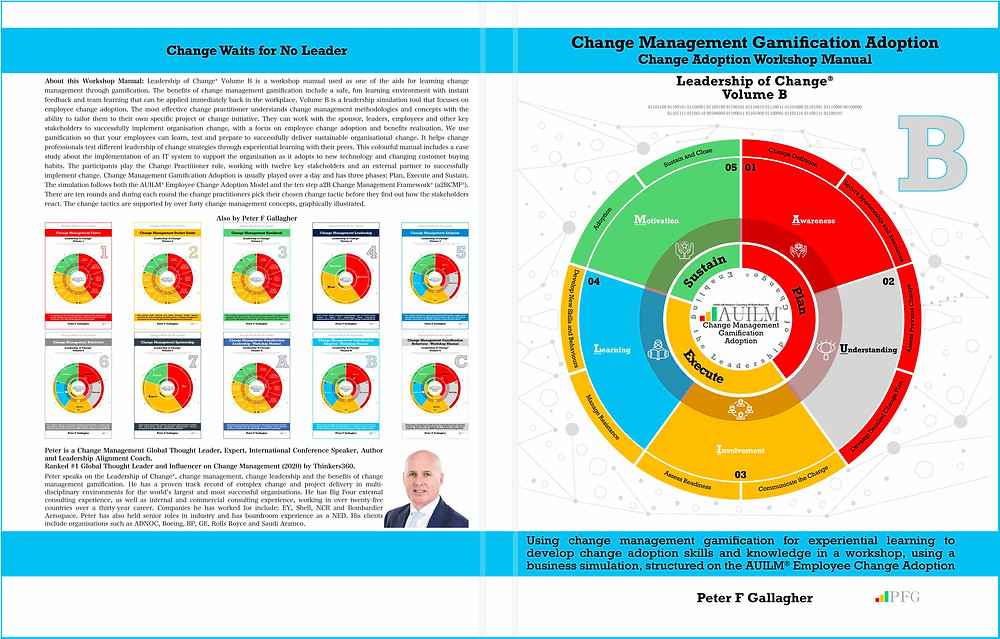 Change Management Gamification Adoption, Change Management Book, Change Management Workshop Manual, Change Management Gamification Adoption - Leadership of Change® Volume B, Peter F Gallagher Change Management Expert, Using change management gamification for experiential learning to develop change adoption skills and knowledge in a workshop, using a business simulation, structured on the AUILM® Employee Change Adoption Model,