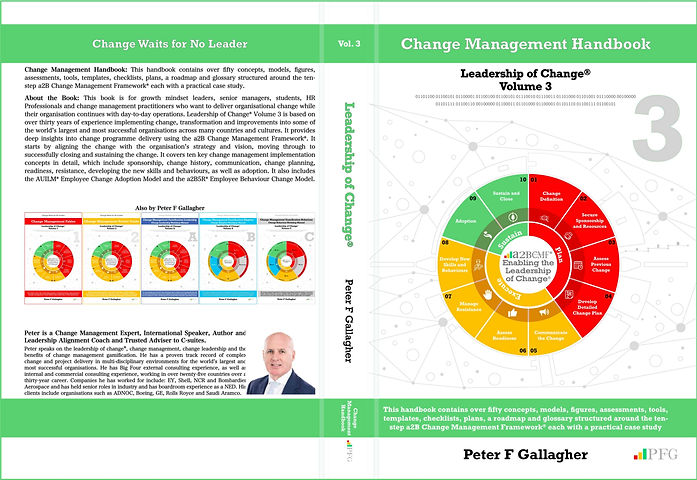 Change Management Handbook - Leadership of Change Volume 3 – Peter F Gallagher, Change Management Handbook, Leadership of Change Volume 3, a2b Change Management Handbook, leadership of change volumes 1 2 3 4 5 6 7 A B C, Peter F Gallagher Keynote Speaker, Peter F Gallagher Change Management Expert, a2B.consulting, peterfgallagher.com, change management models, Change Leadership,#LeadershipOfChange, a2BCMF, AUILM, a2B5R,