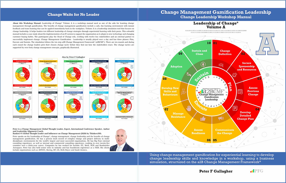 Change Management Gamification Leadership, Change Management Book, Change Management Gamification Leadership - Leadership of Change® Volume A, Peter F Gallagher Change Management Expert, Using change management gamification for experiential learning to develop change leadership skills and knowledge in a workshop, using a business simulation, structured on the a2B Change Management Framework®