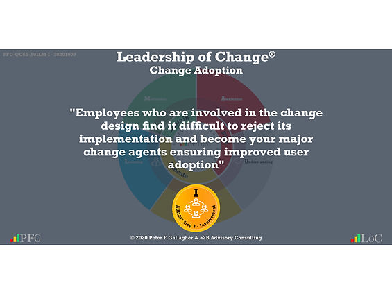 """Change Management Adoption Quotes, Change Management Quotes Peter F Gallagher, """"Employees who are involved in the change design find it difficult to reject its implementation and become your major change agents ensuring improved user adoption"""" ~ Peter F Gallagher Change, Peter F Gallagher Change Management Expert Speaker and Global Thought Leader,"""