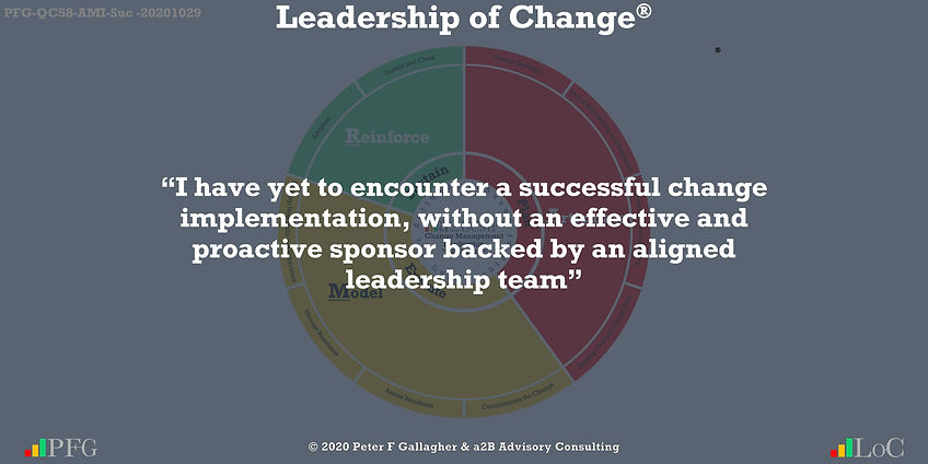 """Change Management Leadership Quotes, Change Management Quotes Peter F Gallagher, """"I have yet to encounter a successful change implementation, without an effective and proactive sponsor backed by an aligned leadership team"""" ~ Peter F Gallagher Change, Peter F Gallagher Change Management Expert Speaker and Global Thought Leader,"""