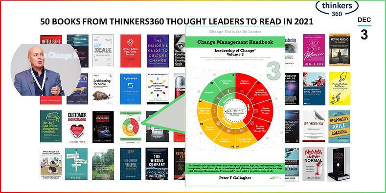 Change Management Handbook, Change Management Book, Change Management Books, Change Management Handbook - Leadership of Change® Volume 3, Peter F Gallagher Change Management Expert, Thinkers360 Business Books, This handbook contains over fifty concepts, models, figures, assessments, tools, templates, checklists, plans, a roadmap and glossary, structured on the ten step a2B Change Management Framework® each with a practical case study