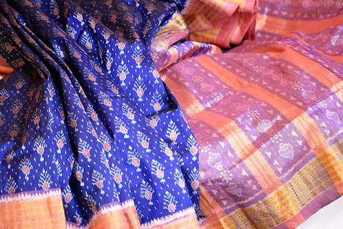 Blue and Pink Bandha Sonepuri silk with Anchal and Border Tissue