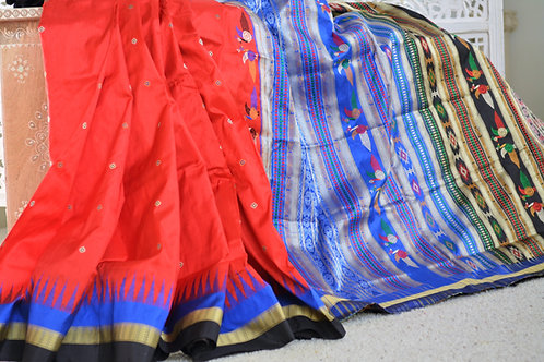 Dongria tribal design Red,blue and black silk