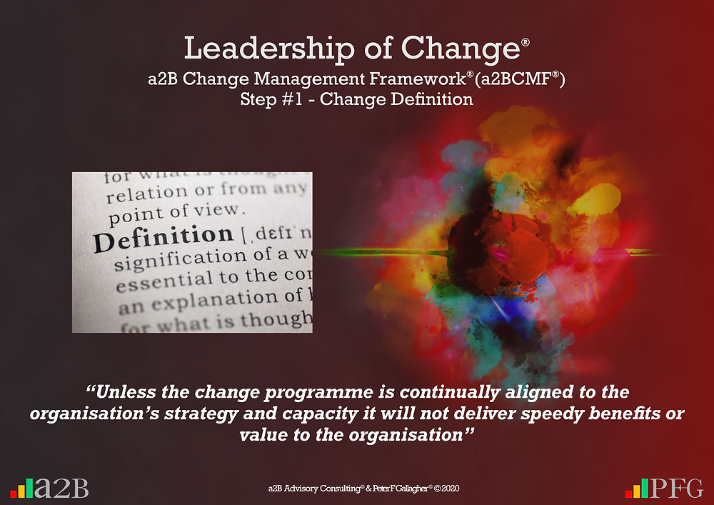 "a2B Change Management Framework® (a2BCMF®) Step #1 - Change Definition ""Unless the change programme is continually aligned to the organisation's strategy and capacity it will not deliver speedy benefits or value to the organisation"" Peter F Gallagher Change Management Expert"