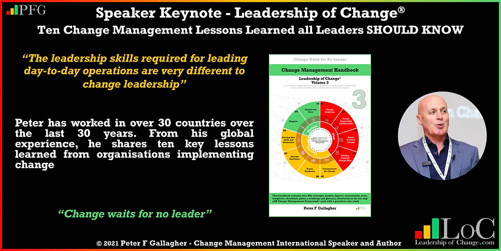 Peter F Gallagher speaking, Peter F Gallagher change leadership keynote speaker, change management keynote speaker, 10 Change Management Lessons Learned that Leaders SHOULD Know, Peter F Gallagher change management expert speaker global thought leader, change management experts speakers global thought leaders, change expert, change management handbook, Leadership of Change, Peter F Gallagher change expert,