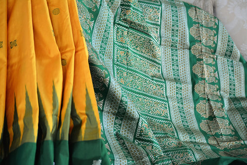 Turmeric yellow and leaf Green Bomkai silk