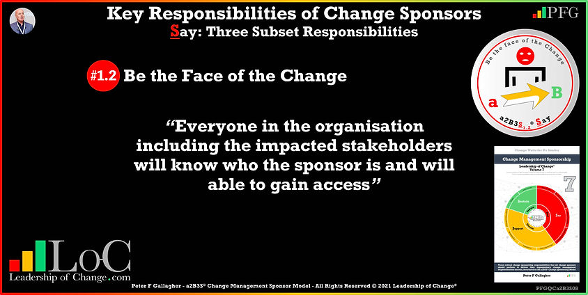 Change Management Sponsorship, Sponsor Be the Face of the Change, everyone in the organisation including the impacted stakeholders will know who the sponsor is and will able to gain access, Peter F Gallagher Change Management Experts Speakers Global Thought Leaders, Peter F Gallagher Change Management Expert Speaker Global Thought Leader, change sponsorship, leadership of change,