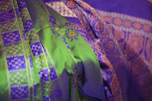 Green and Violet Bomkai silk