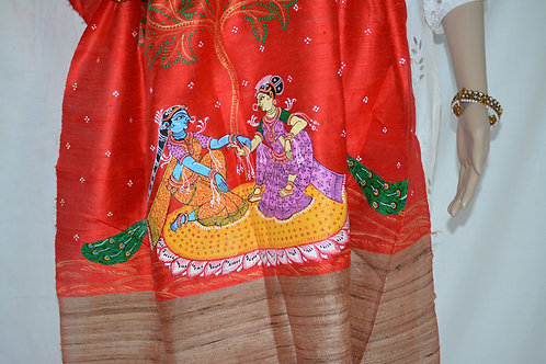 Red tussar silk with patachitra dupatta
