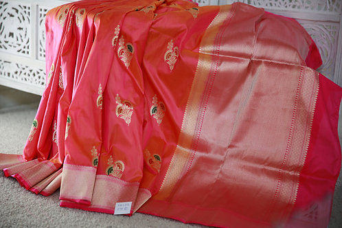 Peach and Rani Pink Banarasi Handloom Khathan silk saree