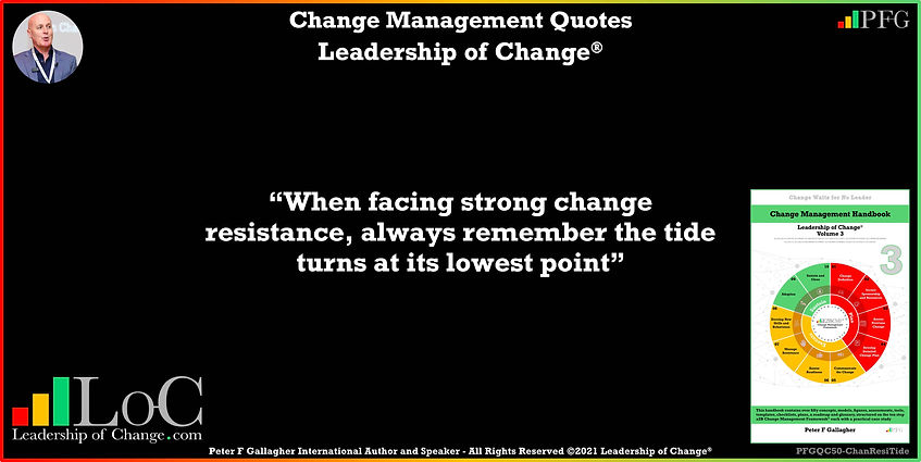 Change Management Quotes, Change Management Quote, Peter F Gallagher, facing strong change resistance always remember tide turns at its lowest point, change management keynote speaker, change management speakers, Change Management Experts, Change Management Global Thought Leaders, Change Management Expert, Change Management Global Thought Leader, change handbook, leadership of change, change management leadership,