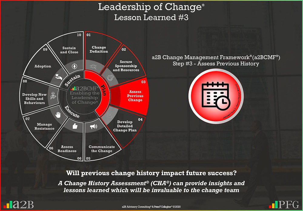 Lesson Learned #3 Leadership of Change, a2B Change Management Framework® (a2BCMF®) Change Management Lesson Learned #3, Will previous change history impact future success? A Change History Assessment (CHA) can provide insights and lessons learned which will be invaluable to the change team, Peter F Gallagher change management expert speaker global thought leader, change management handbook, change manager handbook,