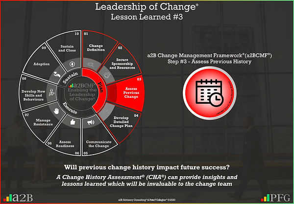 Lesson Learned #3 Leadership of Change, a2B Change Management Framework® (a2BCMF®) Change Management Lesson Learned #3 Will previous change history impact future success? A Change History Assessment (CHA) can provide insights and lessons learned which will be invaluable to the change team ~ Peter F Gallagher Change Management Expert and Global Thought Leader,
