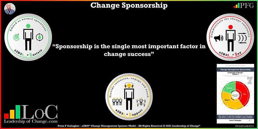 Change Management Sponsorship, Sponsorship is the single most important factor in change success, Peter F Gallagher Change Management Experts Speakers Global Thought Leaders, Peter F Gallagher Change Management Expert Speaker Global Thought Leader, change sponsorship, leadership of change, change management handbook,