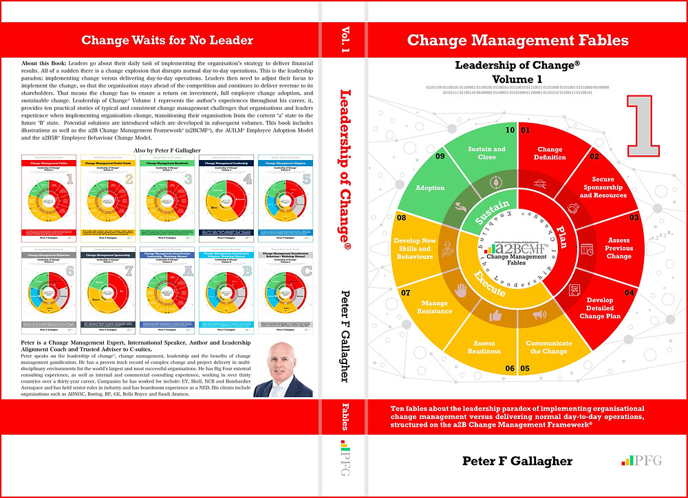 Change Management Fables, Change Management Book, Leadership of Change® Volume 1, Peter F Gallagher Change Management Expert, Ten fables about the leadership paradox of implementing organisational change management versus delivering normal day-to-day operations structured on the a2B Change Management Framework®,