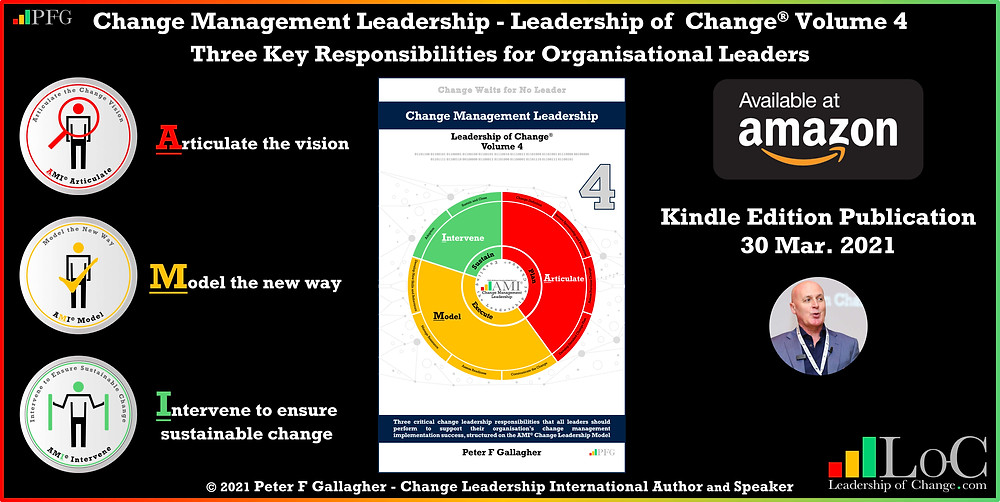 change management leadership - leadership of change® volume 4, change leadership, change management book, change management books, change management handbook, Peter F Gallagher change management expert speaker global thought leader, three critical leadership tasks that all leaders should perform to support their organisation's change management implementation success articulate model intervene, a2BCMF®, change manager handbook,