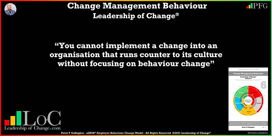 Change Management Behaviour Quotes, Change Management Quotes, Peter F Gallagher, You cannot implement a change into an organisation that runs counter to its culture without focusing on behaviour change, Peter F Gallagher Change Management Experts Speakers Global Thought Leaders, change management behaviour book, Leadership of Change, Employee Behaviour Change, Change Management Expert Speaker thought leader,