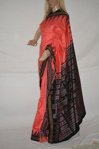 Peach and Black Paatli design Odisha Sambalpuri silk