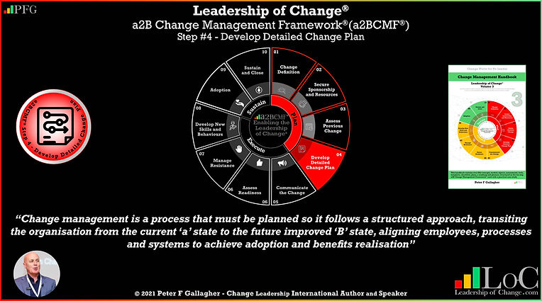 a2B Change Management Framework® (a2BCMF®) Step 4 Develop Detailed Change Plan, leadership of change, change management quote, change project planning should ensure the change management process follows a structured approach with key activities and milestones transitioning from the current state a to the future state b, Peter F Gallagher change management expert speaker global thought leader, change manager handbook,
