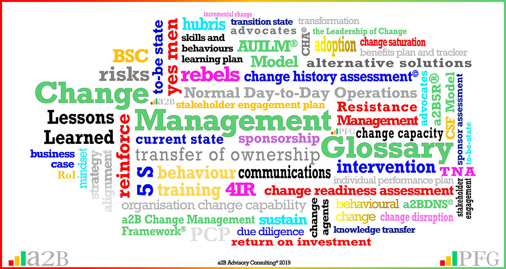 a2B Change Management Glossary,  The Leadership of Change,  Peter F Gallagher Keynote Speaker, Peter F Gallagher Change Management Expert, Change Management Fables, Change Management Pocket Guide, Change Management Handbook, #PFG, PFG Publications, #LeadershipOfChange, Implementing organisational change management vs. delivering normal day to day operations, Enabling leadership of Change, Sarah L Gallagher, Change Management, Change Management Framework, Change Management Models, a2BCMF, AUILM, a2B5R, a2BBIS, [Author: Peter F Gallagher]