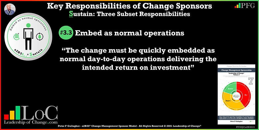 Change Management Sponsorship, Sponsor Communicate Constantly, sponsor Embed as Normal Operations, the Sponsor change must be quickly embedded as normal day-to-day operations delivering the intended return on investment, Peter F Gallagher Change Management Experts Speakers Global Thought Leaders, Peter F Gallagher Change Management Expert Speaker Global Thought Leader, change sponsorship, leadership of change,