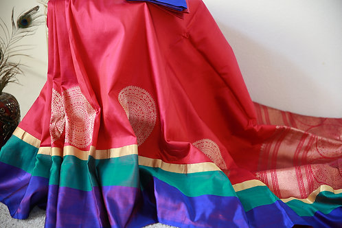 Silk Banarasi Ruby Pink with green,purple border with Zari