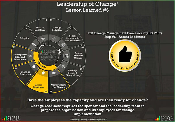 Lesson Learned #6 Leadership of Change, a2B Change Management Framework® (a2BCMF®) Change Management Lesson Learned #6 Have the employees the capacity and are they ready for change? Change readiness requires the sponsor and the leadership team to prepare the organisation and its employees for change implementation Peter F Gallagher Change Management Expert and Global Thought Leader,