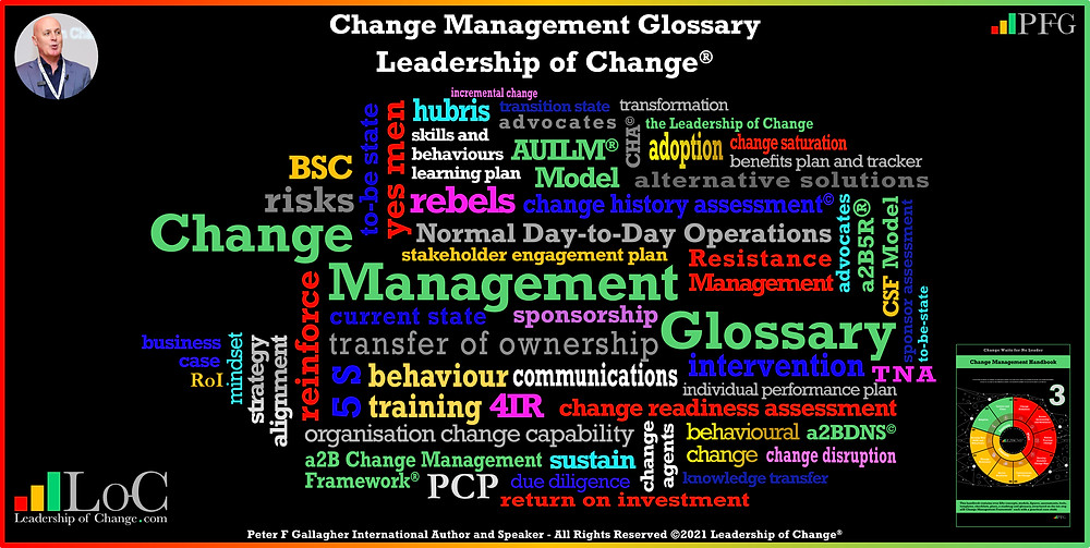 Change Management Glossary, The Leadership of Change,  Peter F Gallagher Keynote Speaker, Peter F Gallagher Change Management Expert, Change Management Fables, Change Management Pocket Guide, Author Peter F Gallagher