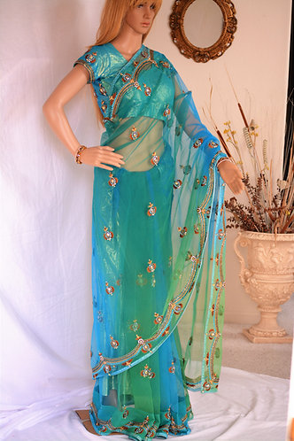 Sea Green and Blue Shaded Net saree