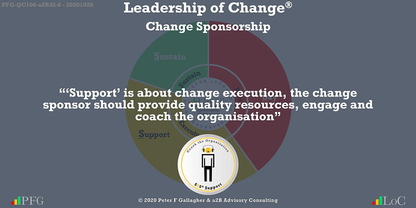 "Change Management Sponsorship, ""'Support' is about change execution, provide quality resources, engage and coach the organisation"" ~ Peter F Gallagher Change, Peter F Gallagher Change Management Expert Speaker and Global Thought Leader,"