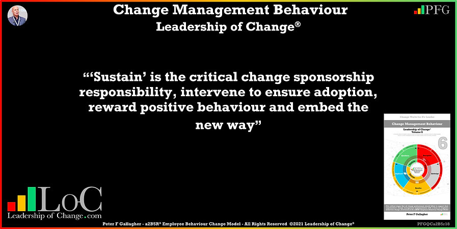 Change Management Behaviour Quotes, Change Management Quotes, Peter F Gallagher, Sustain is the critical change sponsorship responsibility, Peter F Gallagher Change Management Expert Speaker Though Leader, Peter F Gallagher Change Management Experts Speakers global thought leaders, Peter F Gallagher Change Management keynote speaker, change management behaviour book, Leadership of Change,
