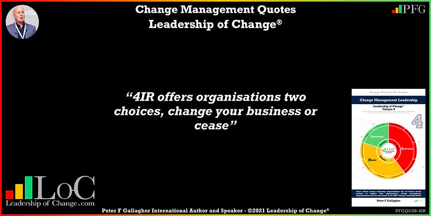 change management quote of the day, change management quotes, peter f gallagher, 4IR offers organisations two choices change your business or cease, change management experts speakers global thought leaders, change management expert speaker global thought leader, change management handbook, change management books, change management keynote speakers, change quotes, leadership of change,