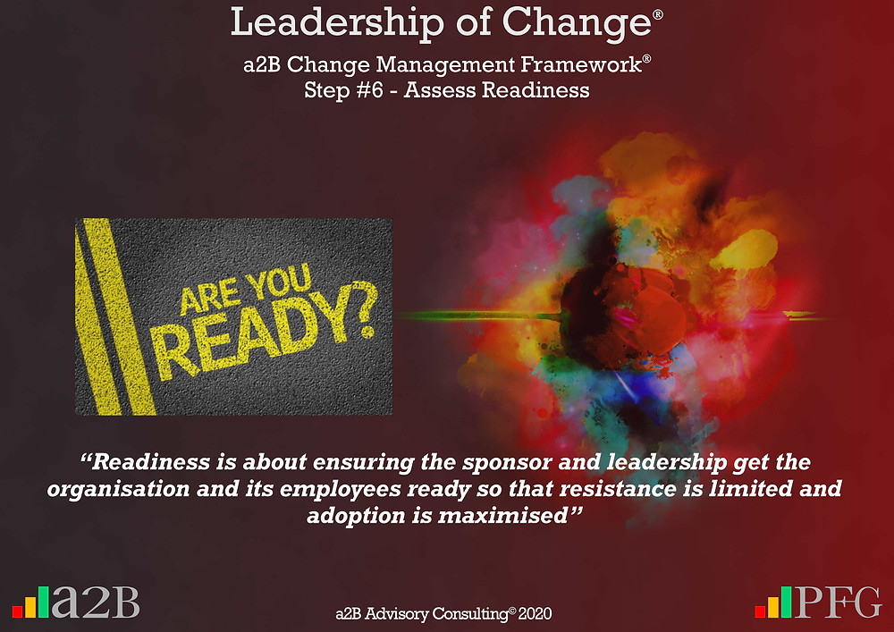 """Change Management, Change Management Readiness, Change Management Framework (a2BCMF) – Step 6, """"Readiness is about ensuring the sponsor and leadership get the organisation and its employees ready so that resistance is limited and adoption is maximised""""  ~ Peter F Gallagher, Peter F Gallagher, PeterFGallagher.com, Change Management Model, Peter F Gallagher Speaker, a2B Change Management Framework, a2B AUILM, a2B AUILM Employee adoption model, a2BBIS, a2B5R® Employee Behavioural Model, a2B5R, a2BCMF, a2B AUILM, Peter F Gallagher Author of """"The Leadership of Change"""", The Leadership of Change – volume 1, The Leadership of Change Fables, #LeadershipOfChange, Enabling the leadership of change, a2B Advisory Consulting, www.a2B.consuling, Peter F Gallagher Change Management Expert, Sarah L Gallagher,"""