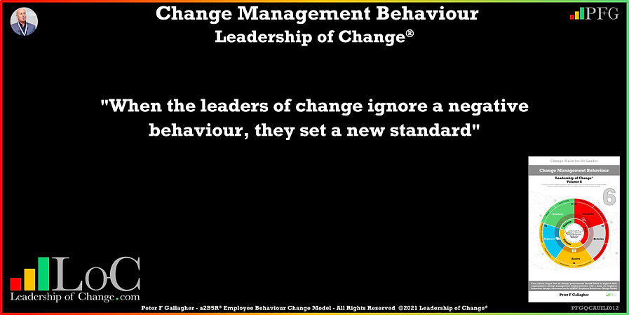 Change Management Behaviour Quotes, Change Management Quotes, Peter F Gallagher, When the leaders of change ignore a negative behaviour, they set a new standard, Peter F Gallagher Change Management Experts, Peter F Gallagher Change Management Speakers, Peter F Gallagher Change Management Global Thought Leaders, change management behaviour book, Leadership of Change,