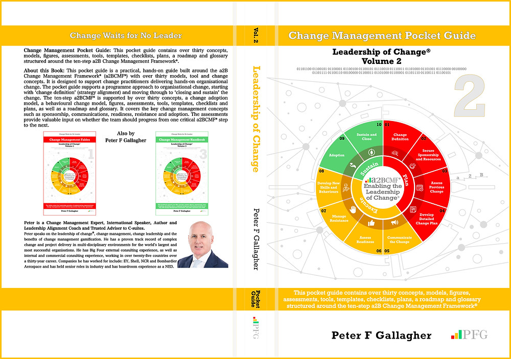 Change Management Pocket Guide, Leadership of Change Volume 2, a2b Change Management Pocket Guide, leadership of change volumes 1 - 3, Peter F Gallagher Keynote Speaker, Peter F Gallagher Change Management Expert, a2B.consulting, peterfgallagher.com, change management models, Leadership of Change – Volume 1-3, Change Leadership, Peter F Gallagher  Author, Peter F Gallagher International Speaker, #LeadershipOfChange, a2BCMF, AUILM, a2B5R,