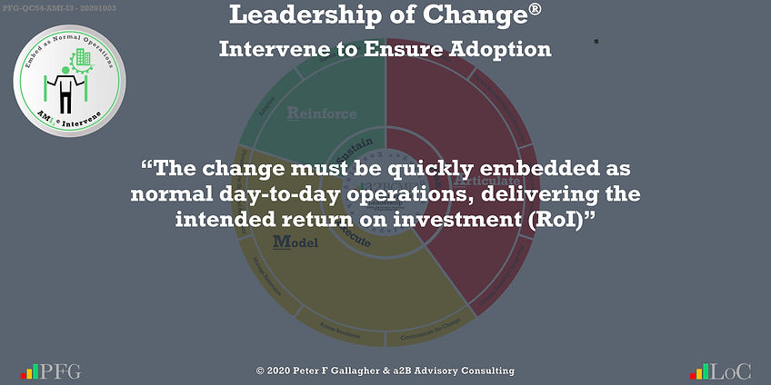 """Change Management Leadership Quotes, Change Management Quotes Peter F Gallagher, """"The change must be quickly embedded as normal day-to-day operations delivering the intended return on investment (RoI)"""" ~ Peter F Gallagher Change, Peter F Gallagher Change Management Expert Speaker and Global Thought Leader,"""