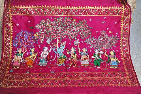 Dark PInk Pure silk Odisha hand crafted Pattachitra saree