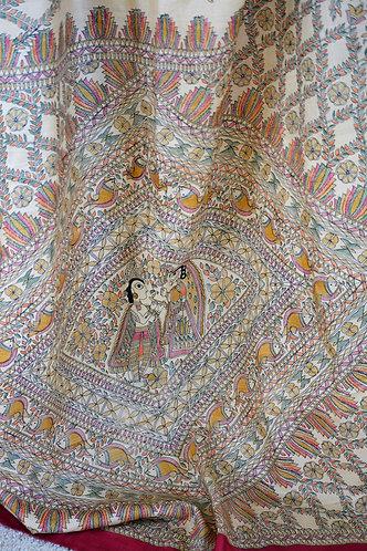 Beige and Pink Madhubani painting Tussar silk