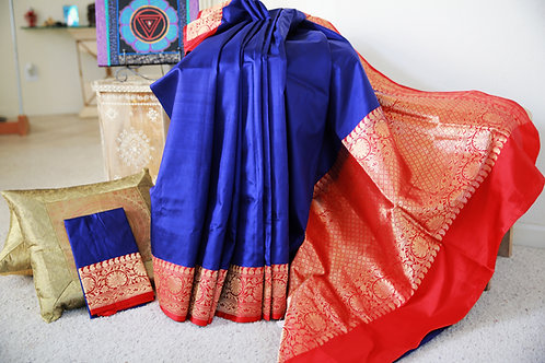 Blue pure Katan Banarasi with Red border with Zari.