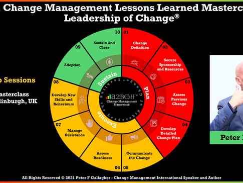 Peter F Gallagher Change Management Masterclass - Edinburgh, UK