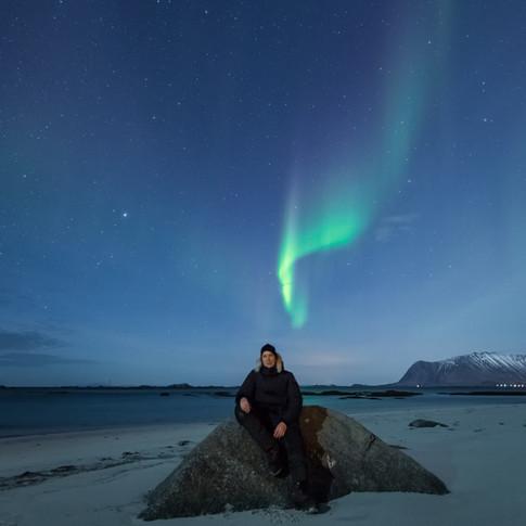 Aurora above my head, Lofoten Islands.