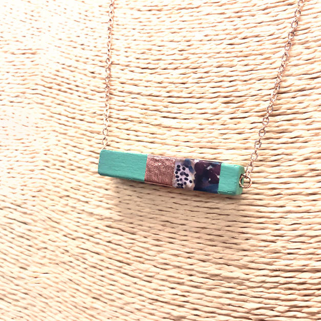 Painted Wood Necklace
