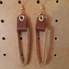 Leather & Chain Earrings